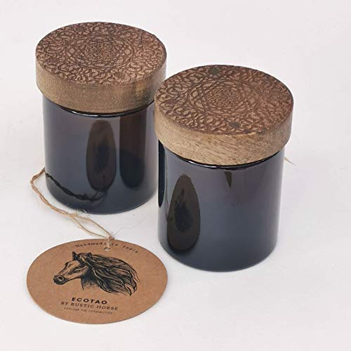 RUSTIC HORSE Artsy Wood and Glass 100ml Kitchen jar for Storage and Decor. Set of 2 (Persian)