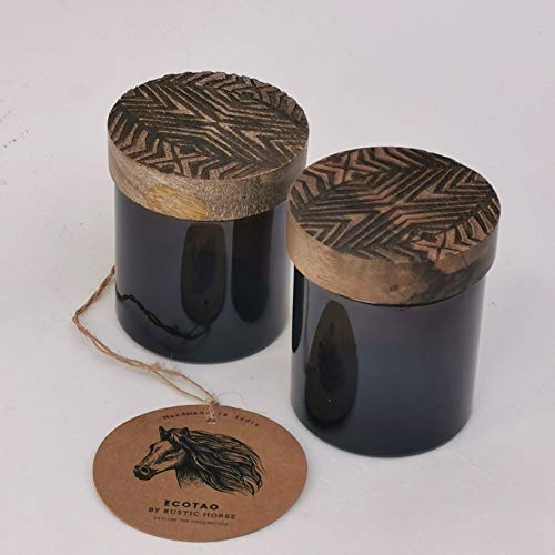 RUSTIC HORSE Artsy Wood and Glass 100ml Kitchen jar for Storage and Decor. Set of 2 (Zulu)