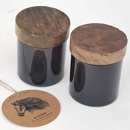 RUSTIC HORSE Artsy Wood and Glass 100ml Kitchen jar for Storage and Decor. Set of 2 (The Grid)