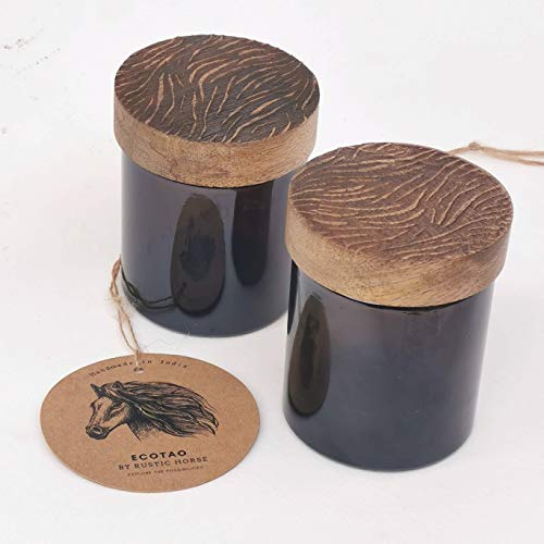 RUSTIC HORSE Artsy Wood and Glass 100ml Kitchen jar for Storage and Decor. Set of 2 (Zebra)