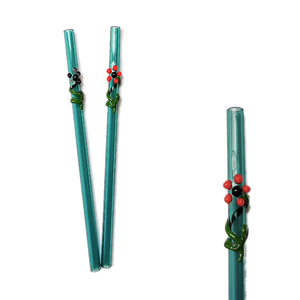 "Flora Collection - Aquamarine Glass Straws  with flora decor. 8"" x 9.5 mm Handblown High Quality Glass-Pack of 2"