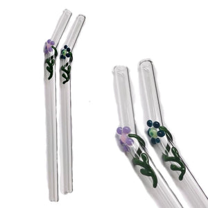 "Flora Collection - Clear Glass Straws  with flora decor. 8"" x 9.5 mm Handblown High Quality Glass-Pack of 2"