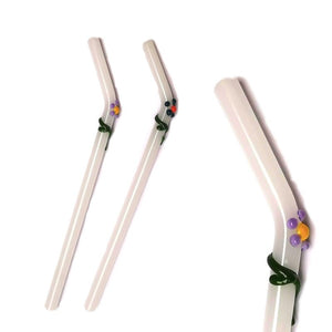 "Flora Collection - Stark White Glass Straws  with flora decor. 8"" x 9.5 mm Handblown High Quality Glass-Pack of 2"