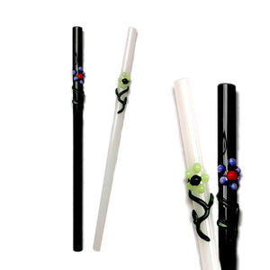 "Flora Collection - Onyx and Stark White Glass Straws  with flora decor. 8"" x 9.5 mm Handblown High Quality Glass-Pack of 2"