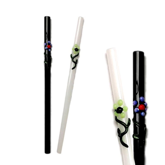 Flora Collection (Onyx & White) Glass Straws