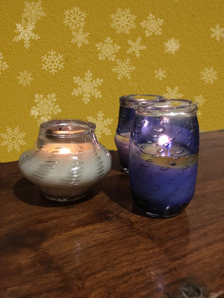 Silver Dew  Art Glass and VANILLA HONEY  Candle Decor , Murano Italy Inspired Art Glass Pillars, Soy scented Aromatic Wax candles by Rustic Horse - Factoh