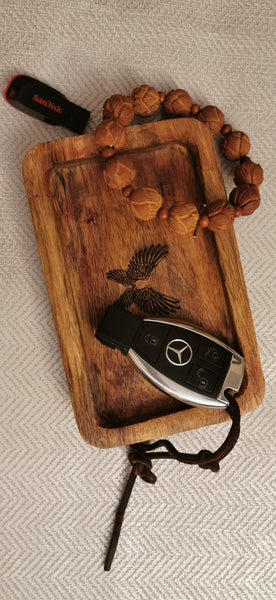 Indonesian  Art Inspired Wood Small Serving Utility Wood Trays