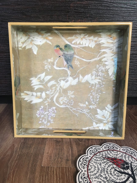 Bird Subtle Cream  Tray/ Serving Tray/  Home decor Tray . - Factoh