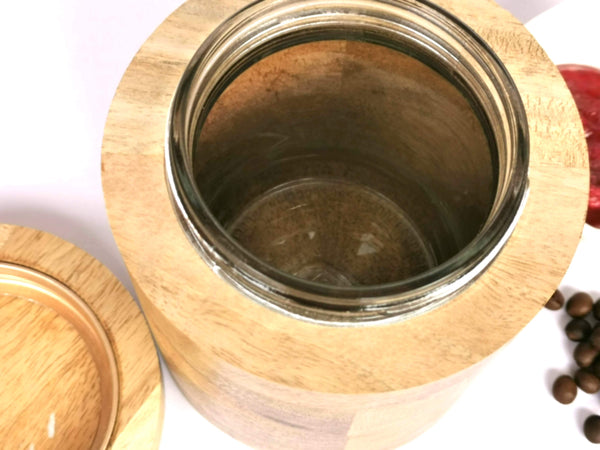 500ml  Wet /Dry wood and glass container.Sustainable Biodegrade-able Planet Friendly