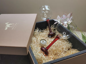 Festive Pack 2x  Garnet Red Wine Glasses  Gift pack