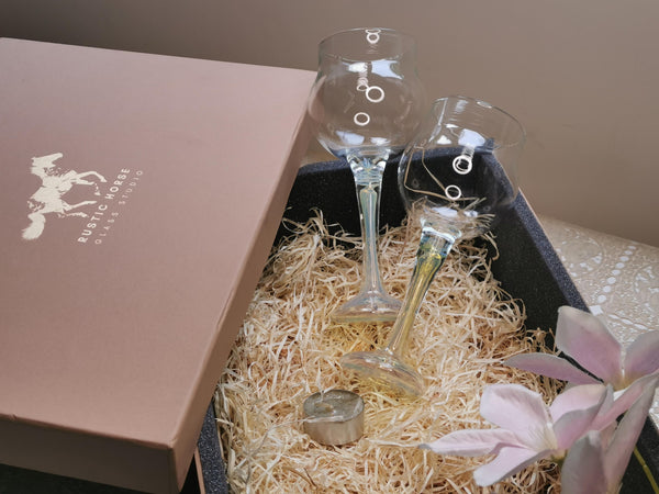 Rustic Horse-  Misty Pearl Wine Glasses Festive Gift pack