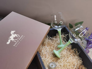 Festive Pack 2x  Paris  Green  Wine Glasses  Gift pack