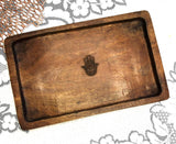 Serving Tray Hamsa Art Inspired  Unique Indonesian design-  11 inch x 6.75 inch