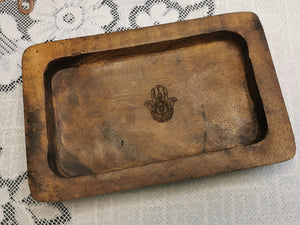 Indonesian  Hamsa Art Inspired Wood Small Serving Utility Wood Trays