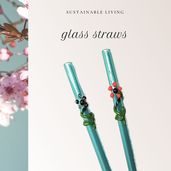 "Flora Collection - Aquamarine Glass Straws  with flora decor. 8"" x 9.5 mm Handblown -Pack of 2"