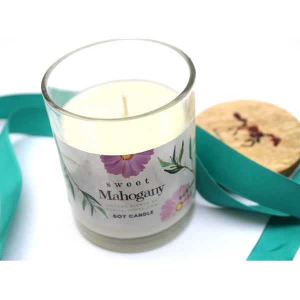 Sweet Mahagony Candle, Soy Candles Handmade, Scented Candle Jar. Calm and Relaxing Fragrance