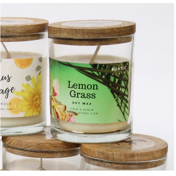 Lemon Grass Soy Candle, Soy Candles Handmade, Scented Candle Jar. Calm and Relaxing Fragrance