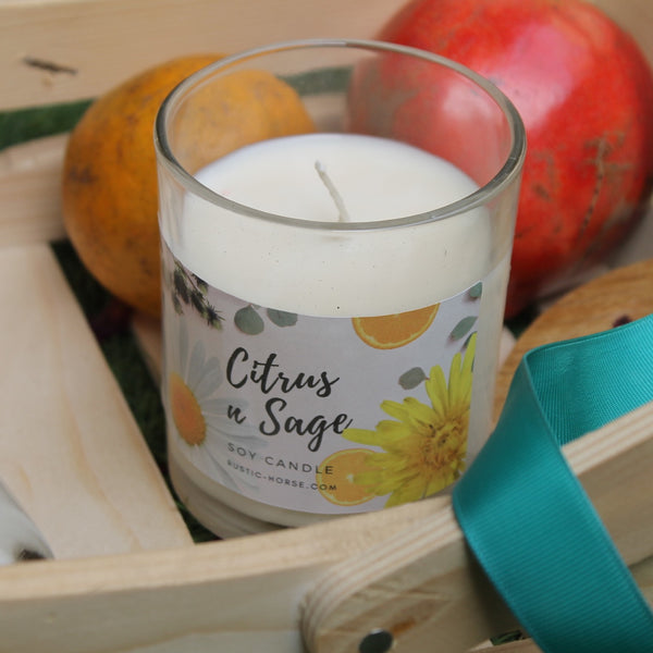 Citrus n Sage Soy Candle, Soy Candles Handmade, Scented Candle Jar. Calm and Relaxing Fragrance