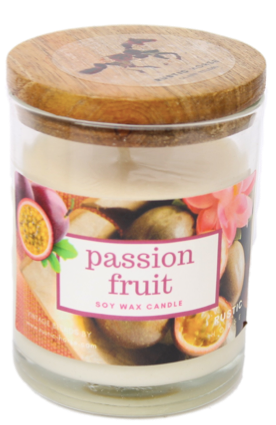 Passion Fruit Fragrance Soy Wax Scented Candle Jar. Tangy Fruity Refreshing