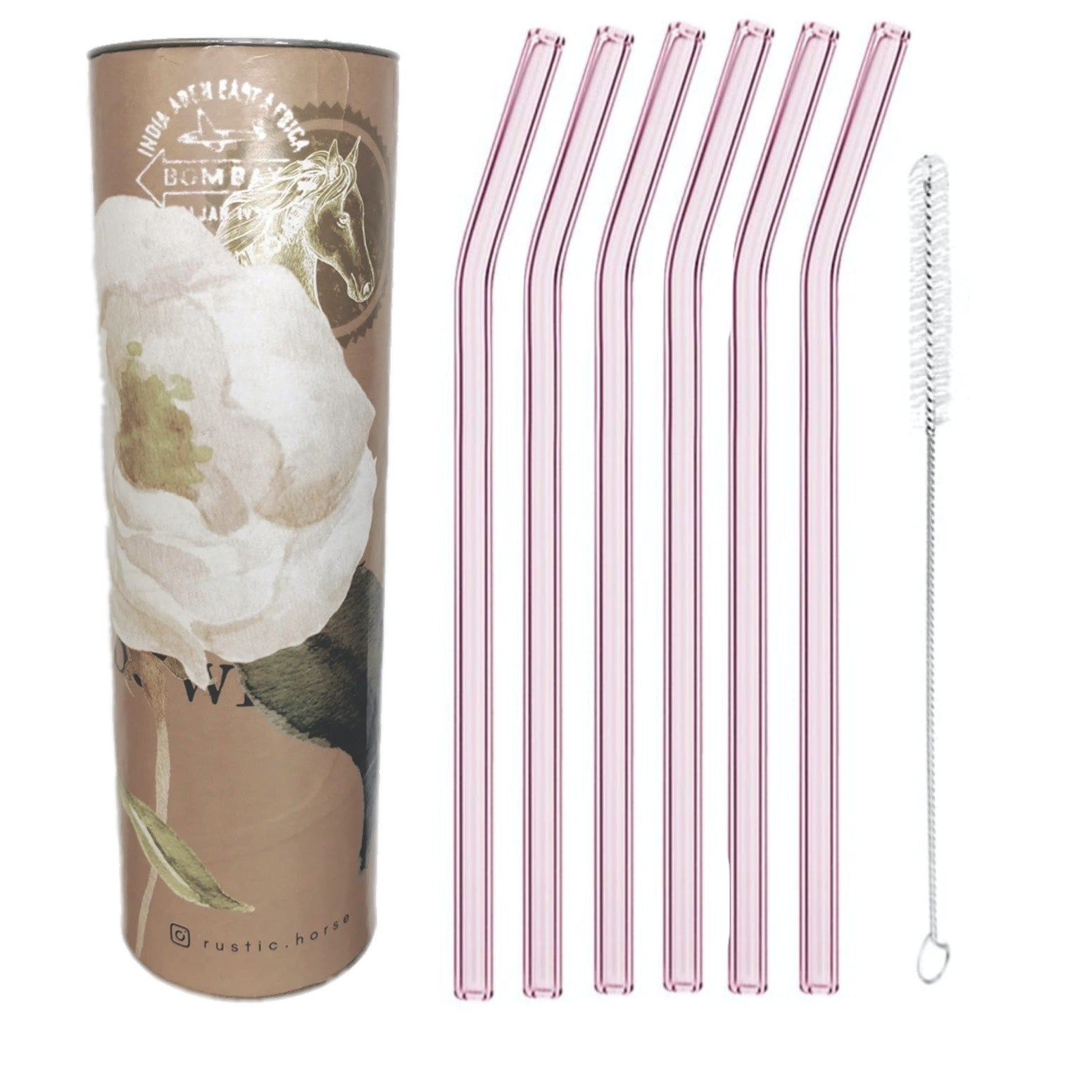 """Pink Saphire ""   Glass Straws by Rustic Horse. Bent 8"" x 9.5 mm Pack of 6 with Brush"