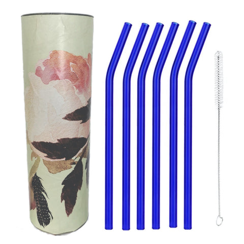 "Brilliant Blue  Glass Straws by Rustic Horse. Bent 8"" x 9.5 mm Pack of 6 with Brush"