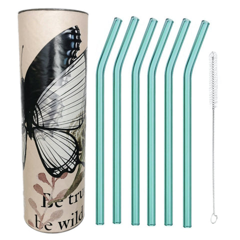 """Ocean Blue""   Glass Straws by Rustic Horse. Bent 8"" x 9.5 mm Pack of 6 with Brush"