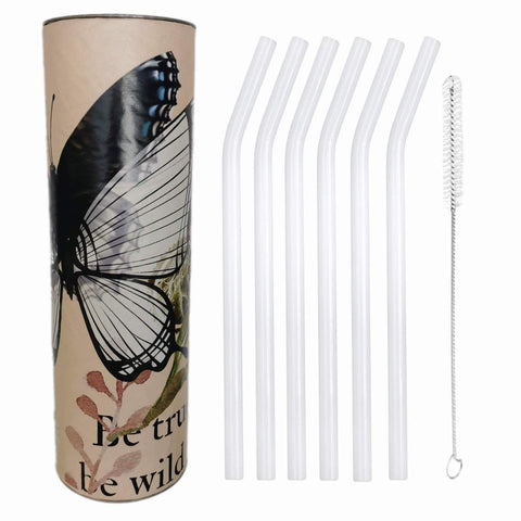 "White Opal  Glass Straws by Rustic Horse. Bent 8"" x 9.5 mm Pack of 6 with Brush"