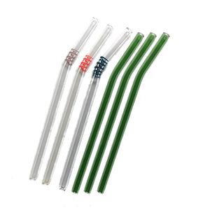 "Mix Glass Straws by Rustic Horse. Bent 8"" x 9.5 mm Handblown High Quality Glass-Pack of 6"