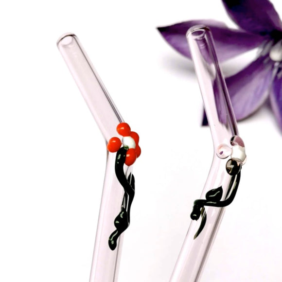 Floral (Saphire Pink) Glass Straws