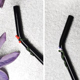 Flora Collection (Black Onyx) Glass Straws