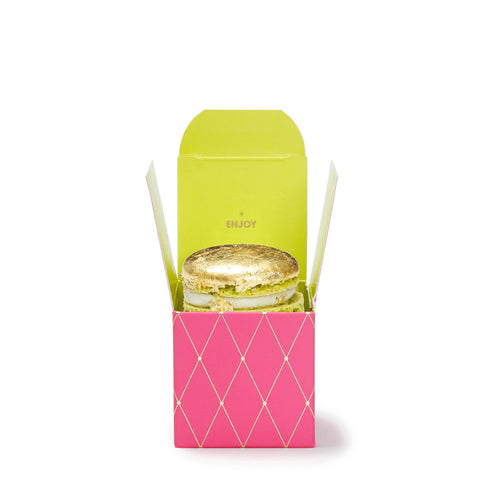 Gold Macaron in Mini Box Pink