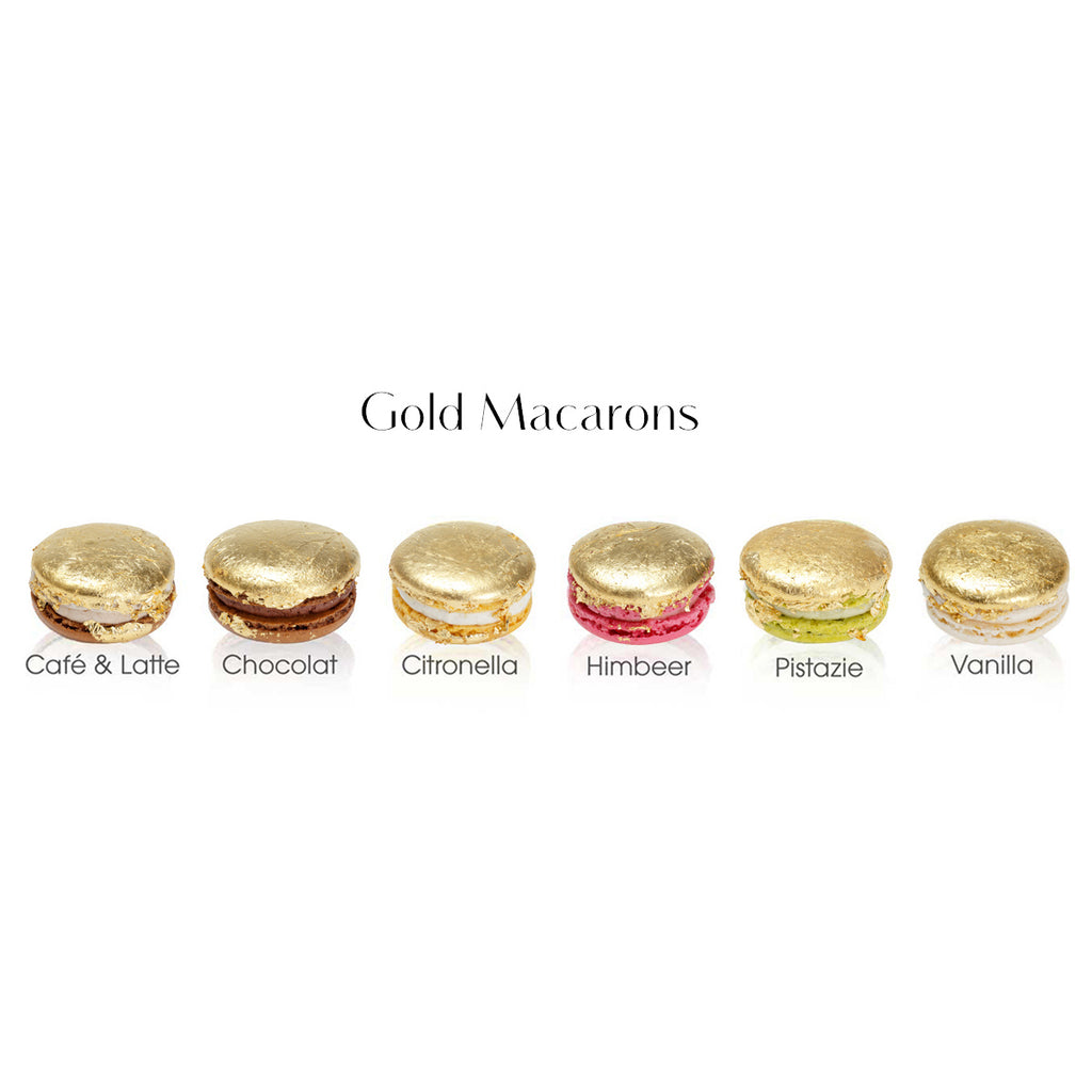 Gold Macaron in Mini Box Türkis