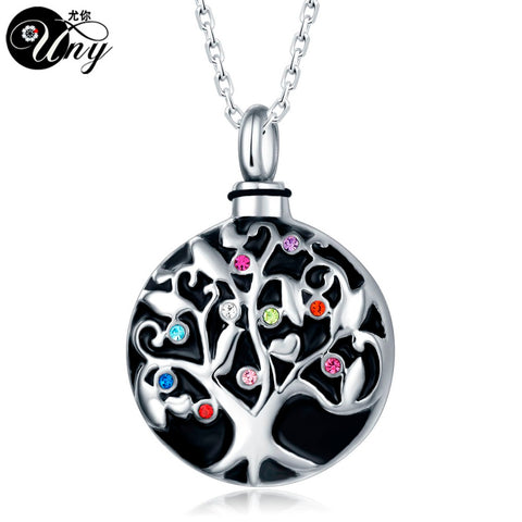 Stainless Steel Family Tree Pet Urn Ashes Pendant Perfume bottle Memorial Ash Keepsake Cremation Jewelry Free Ship