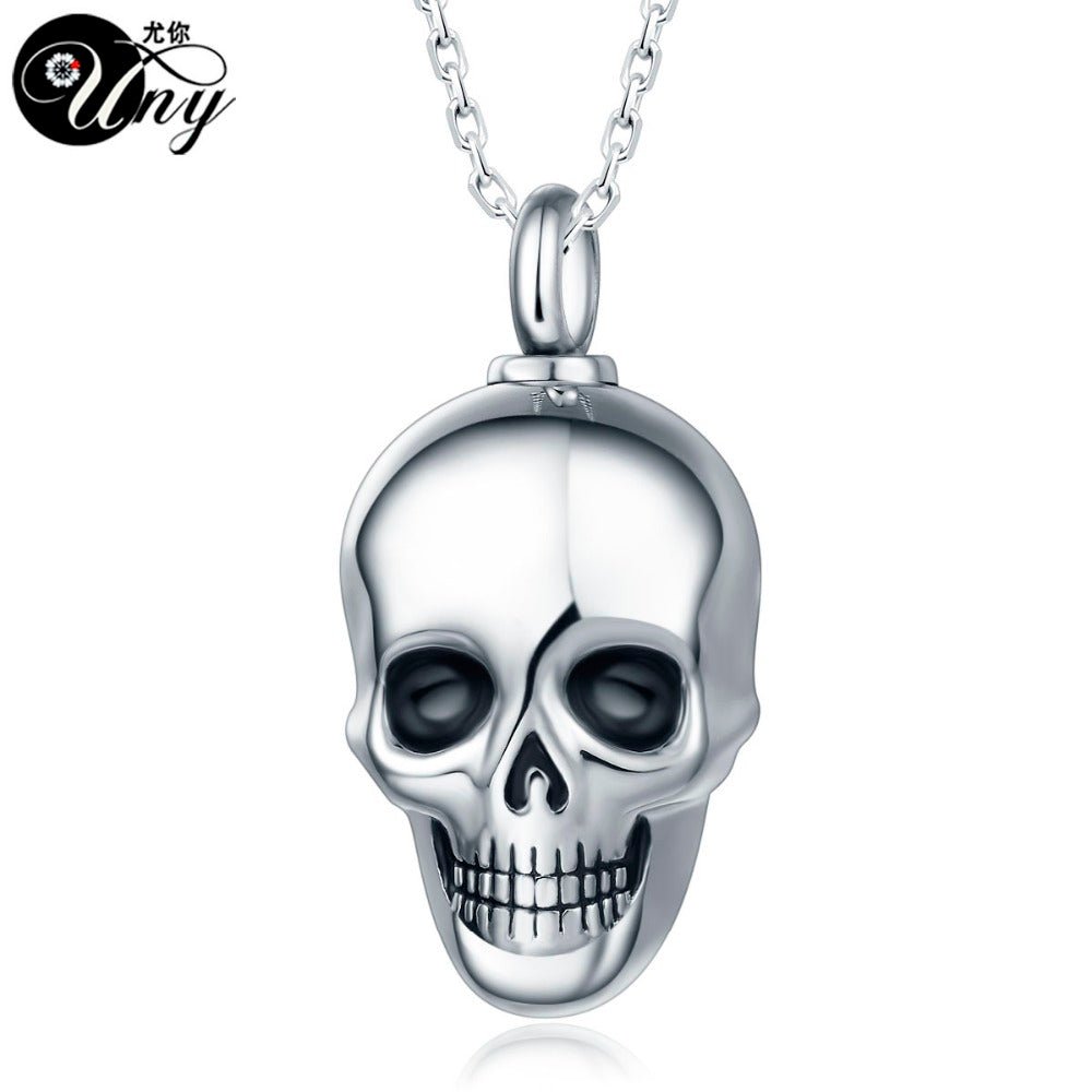 Trendy Stainless Steel Skull Pet Urn Ashes Pendant Perfume bottle Memorial Ash Keepsake Cremation Necklace Jewelry