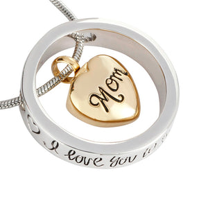 Unisex Heart Inside Mom and Dad pendant  I Love You To The Moon And Back memorial cremation Screw Urn necklace  jewelry