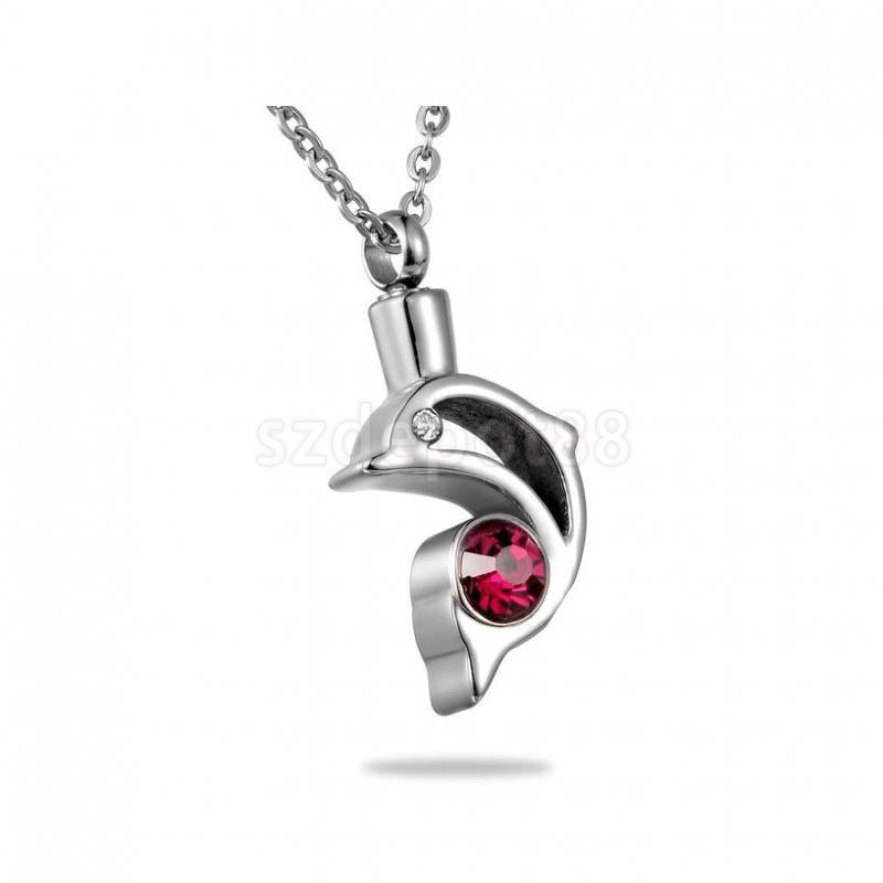 Stainless Steel Dolphin Rhinestone Inlaid Necklace Pendant  Cremation Jewelry