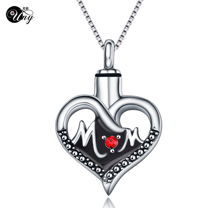 Stainless steel MOM Heart shape Cremation Jewelry