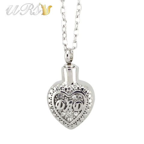 silver stainless steel letter pattern stereo heart urn cremation jewelry ashes necklace memorial dad pendant with o-shaped chain