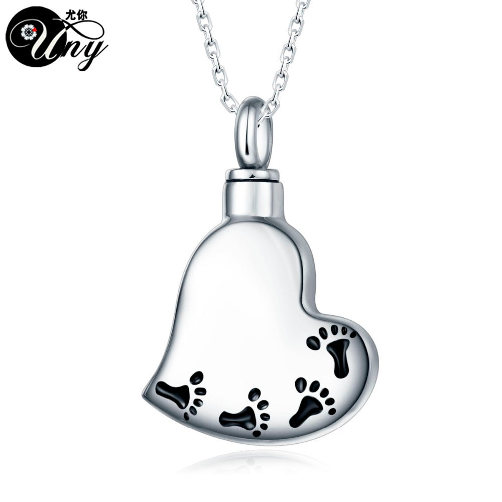 Trendy Stainless Steel Heart Pet Urn Ashes Pendant Perfume bottle Memorial Ash Keepsake Cremation Necklace Jewelry
