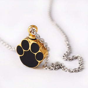 Stainless Steel High Quality Foot print Paw Cremation Necklaces Pet Paw Urn Necklace Ash Urns Pendants Jewelry