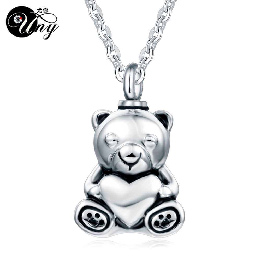 Stainless Steel Teddy Bear Pet Urn Ashes Pendant Perfume bottle Memorial Ash Keepsake Cremation Jewelry Necklace