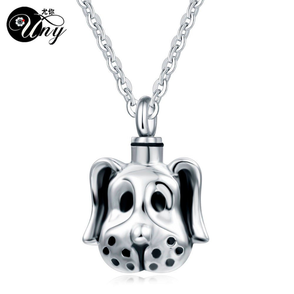 Trendy Stainless Steel Dog Pet Urn Ashes Pendant Perfume bottle Memorial Ash Keepsake Cremation Jewelry Necklace