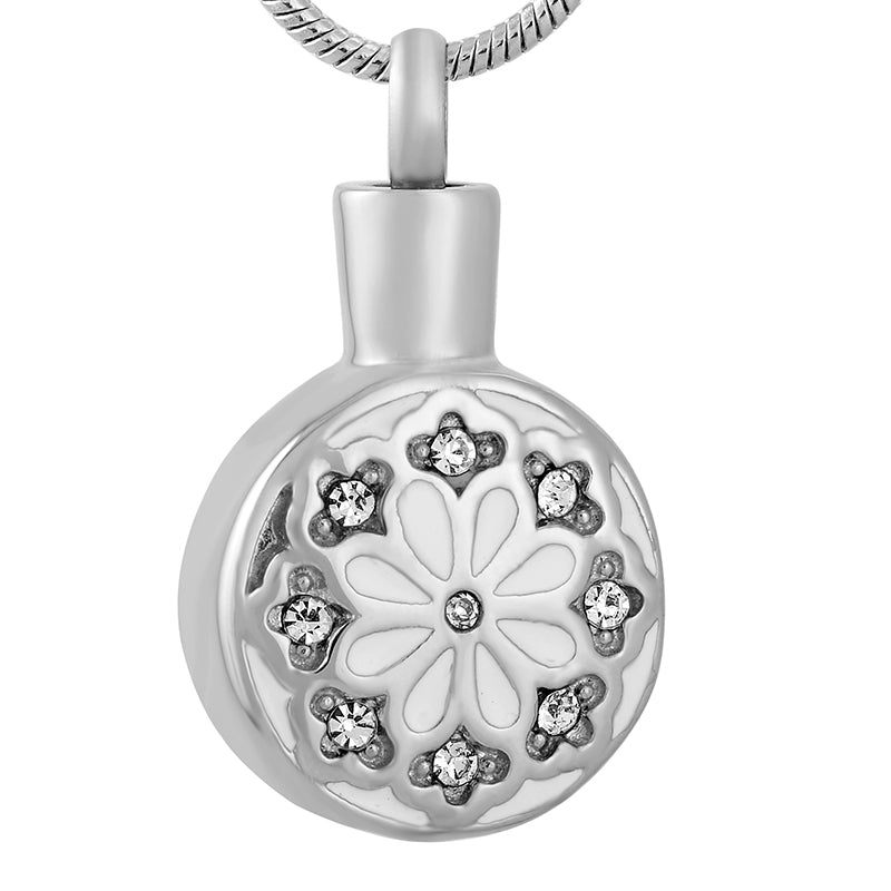 Stainless Steel Crystal Flower Cremation Jewelry