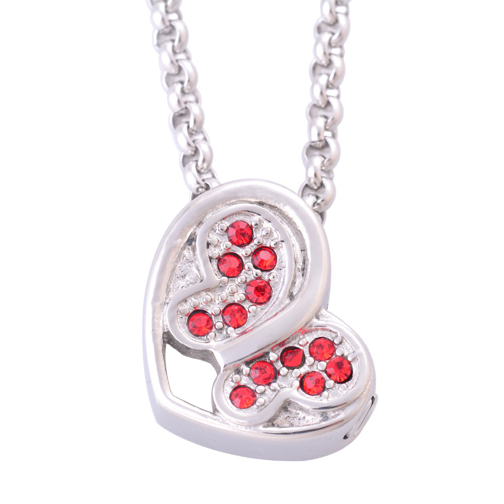 Stainless Steel Red Stones Butterfly Heart Pendant Necklaces Cremation Jewelry