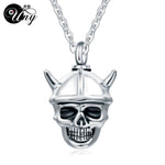 Stainless Steel Evil Skull Pet Urn Ashes Pendant Perfume bottle Memorial Ash Keepsake Cremation Jewelry Necklace