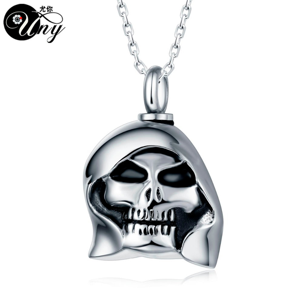 Stainless Steel Skull Perfume bottle necklace  Cremation Jewelry