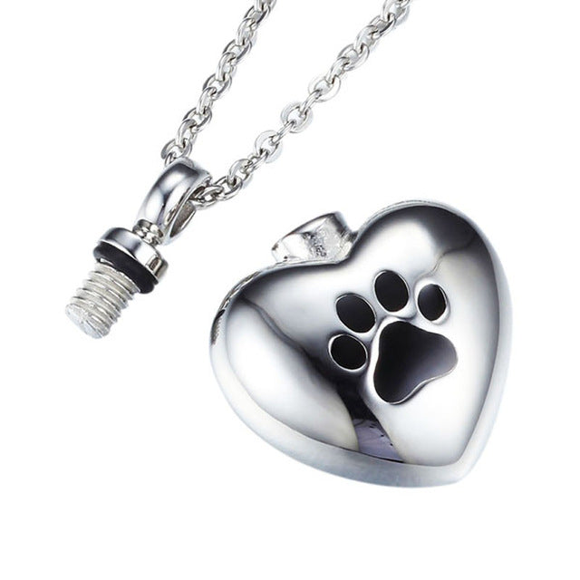 Stainless Steel Puppy Dog Paw Heart Print Urn Pendant Necklace Memorial Pets Ash urns Keepsake jewelry