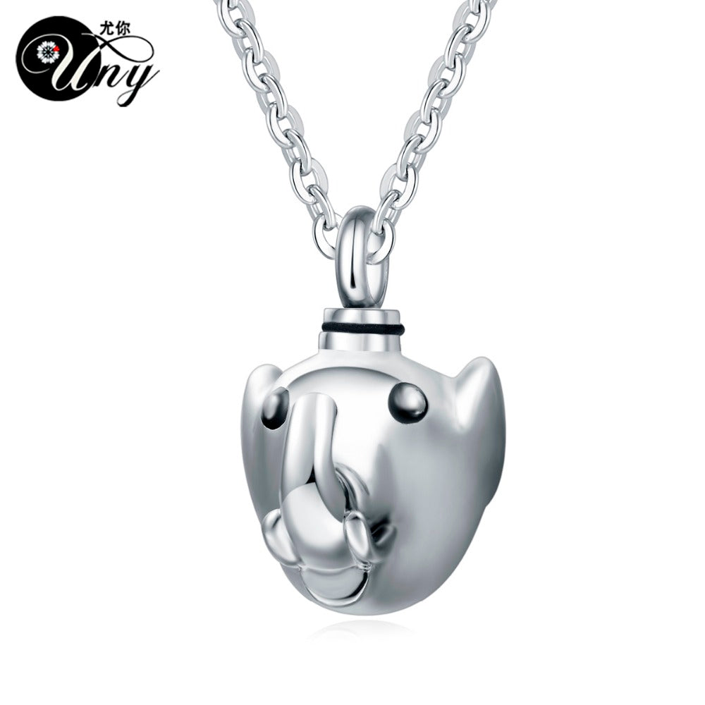 Unique 316L Stainless Steel Elephant Pet Urn Ashes Pendant Perfume bottle Memorial Ash Keepsake Cremation Jewelry Necklace