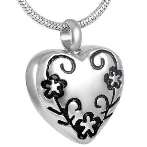 Stainless Steel Flower heart Cremation Jewelry