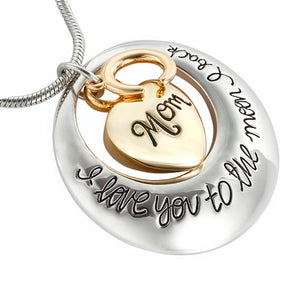 Unisex Mom and Dad pendant  I Love You To The Moon And Back memorial cremation Screw Urn necklace  jewelry